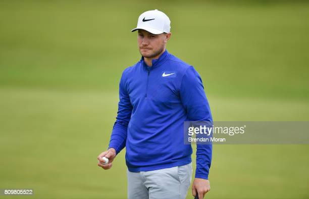 Portstewart United Kingdom 6 July 2017 Oliver Fisher of England acknowledges the gallery on the 16th green during Day 1 of the Dubai Duty Free Irish...