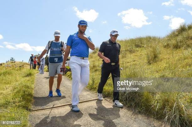 Portstewart United Kingdom 8 July 2017 Jon Rahm of Spain and Ryan Fox of New Zealand on the 3rd hole during Day 3 of the Dubai Duty Free Irish Open...