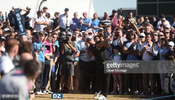 Portstewart United Kingdom 8 July 2017 Ryan Fox of New Zealand plays from the hospitality area on the 18th hole during Day 3 of the Dubai Duty Free...