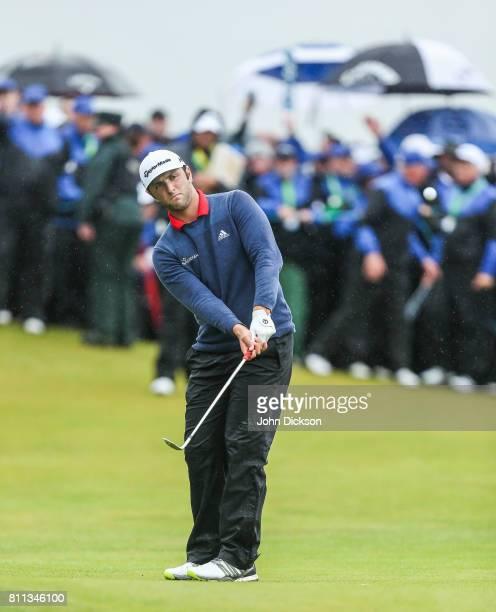 Portstewart United Kingdom 9 July 2017 Jon Rahm of Spain on the 18th during Day 4 of the Dubai Duty Free Irish Open Golf Championship at Portstewart...
