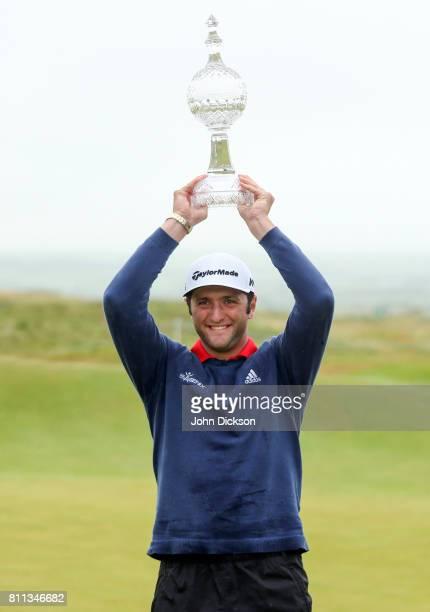Portstewart United Kingdom 9 July 2017 Jon Rahm of Spain with the Dubai Duty Free Irish Open Golf trophy at Portstewart Golf Club in Portstewart Co...