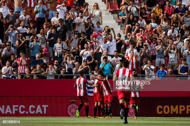 09 Portu from Spain of Girona FC celebrating his goal with his team mates during the Costa Brava Trophy match between Girona FC and Manchester City...