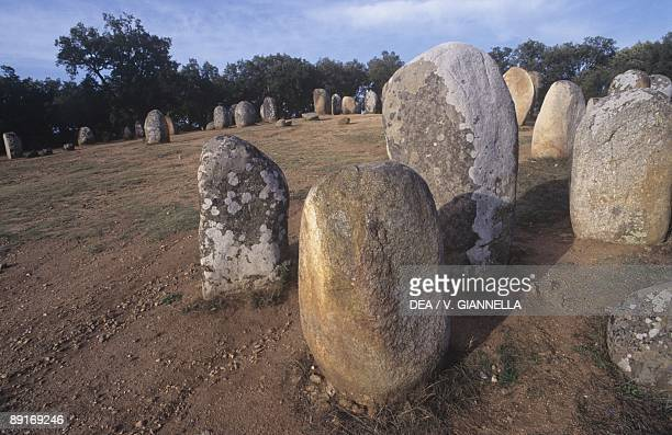 Portugal Alto Alentejo The Almendres Cromlech megalithic complex monoliths from Neolithic period