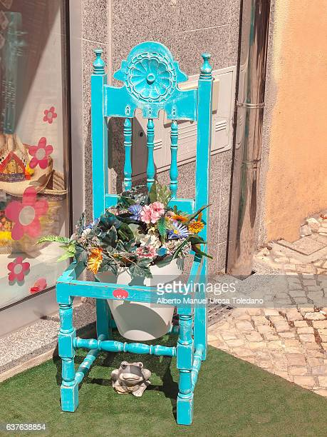 Portugal, Aveiro, flower pot and chair