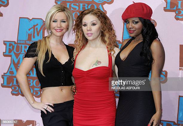 British band Sugarbabes pose backstage at the MTV European Music Awards at the Atlantico Pavillion in Lisbon 03 November 2005 AFP PHOTO/ NICOLAS...
