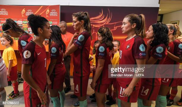 Portugal captain Cláudia Neto speaks to her teammates in the players' tunnel prior to the UEFA Women's EURO 2017 Group D match between Scotland and...