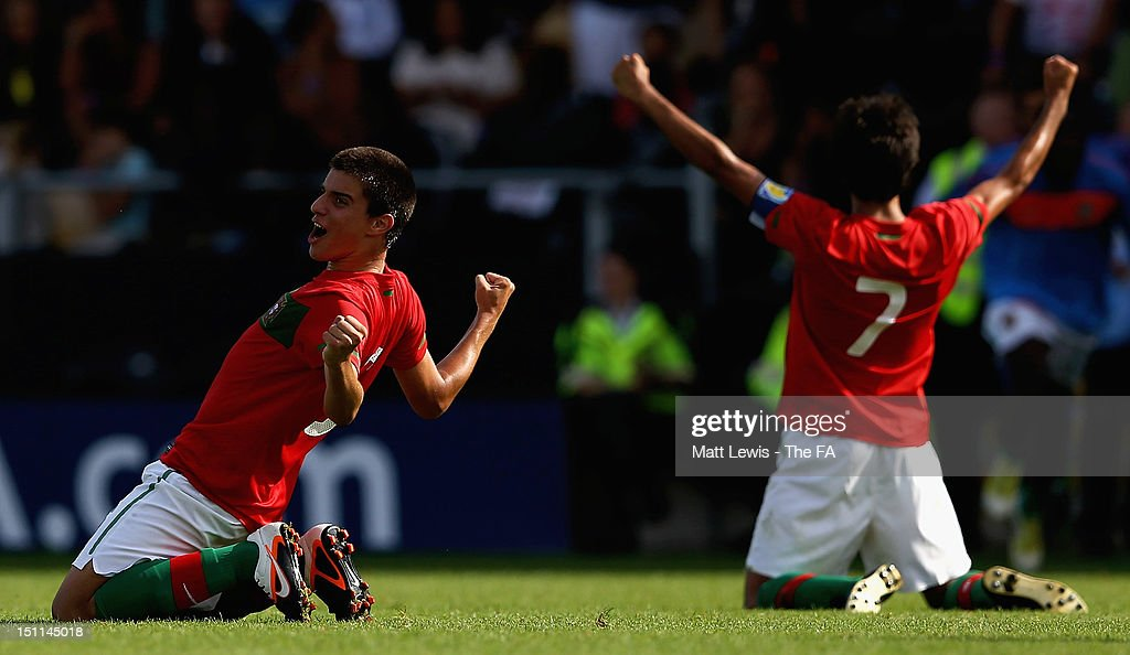 Portugal celebrate winning against England during the match between England U17 and Portugal U17 at Pirelli Stadium on September 2, 2012 in Burton-upon-Trent, England.