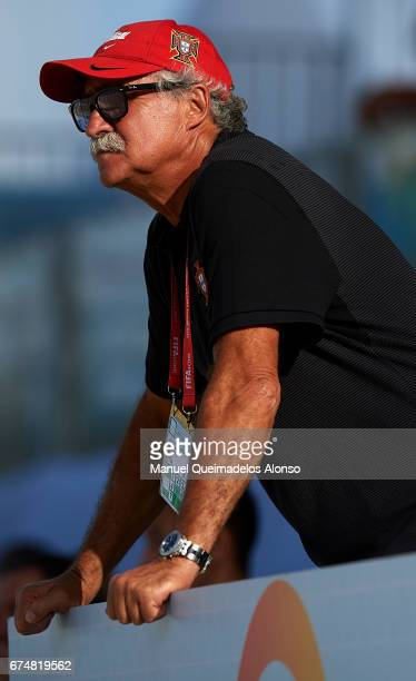 Portugal coach Mario Narciso looks on during the FIFA Beach Soccer World Cup Bahamas 2017 group C match between Portugal and Panama at Bahamas Beach...