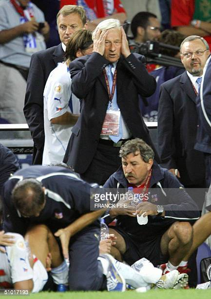 Czech coach Karel Bruckner holds his head in his hands after the score remains 00 at full time 01 July 2004 at Dragao stadium in Porto during the...