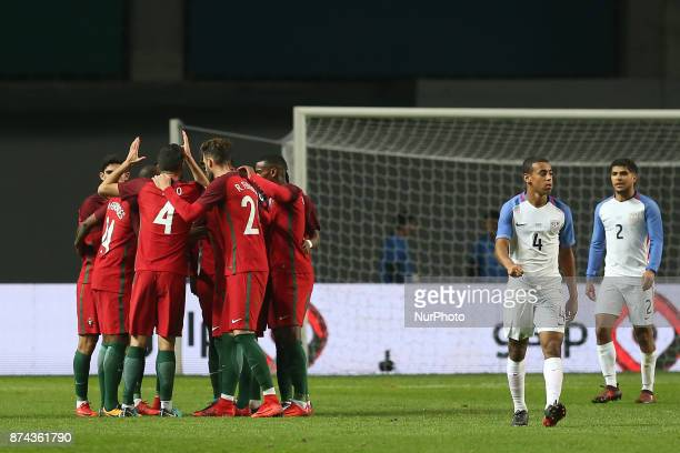 Portugal defender Antunes celebrating with is team mate after scoring a goal during the match between Portugal and United States of America...