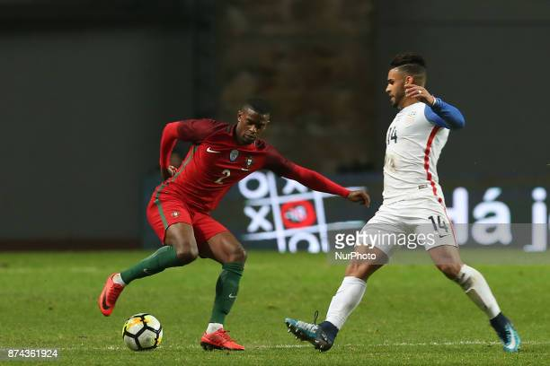 Portugal defender Nelson Semedo and United States of America forward Dom Dwyer during the match between Portugal and United States of America...