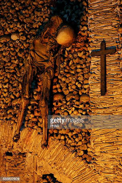 Portugal Evora Chapel of Bones Chapel located next to the entrance of the Church of St Francis The interior walls are covered with human skulls and...