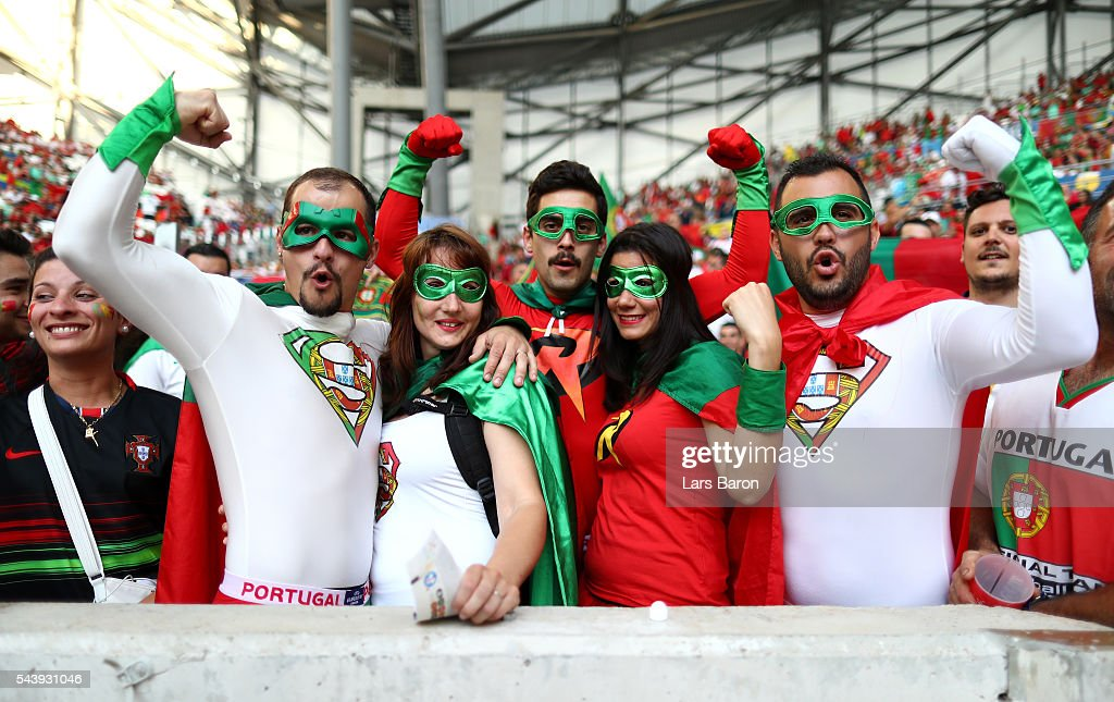 Portugal fans enjoy the atmosphere prior to the UEFA EURO 2016 quarter final match between Poland and Portugal at Stade Velodrome on June 30, 2016 in Marseille, France.