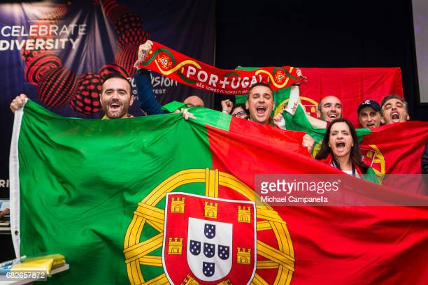 Portugal fans show their support in the press center ahead of the final of the 62nd Eurovision Song Contest at International Exhibition Centre on May...