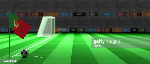 Portugal flag on a soccer field. 3d illustration : Stock Photo