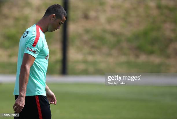 Portugal forward Cristiano Ronaldo arrives at Portugal's National Team Training session before the 2017 FIFA Confederations Cup matches at FPF Cidade...
