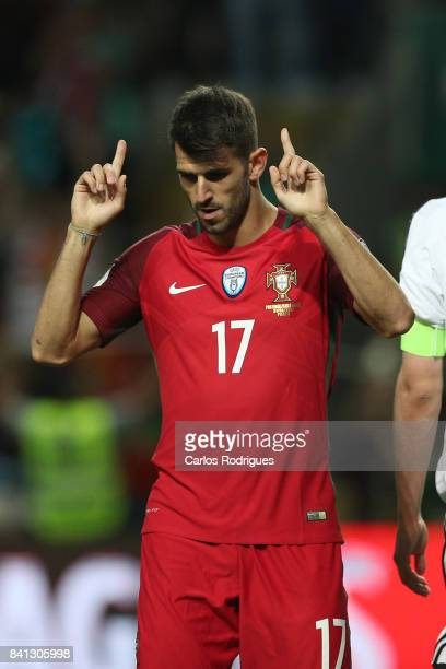 Portugal forward Nelson Oliveira celebrates scoring Portugal fifth goal during the match between Portugal v Faroe Islands FIFA 2018 World Cup...
