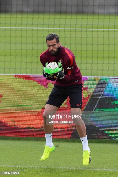 Portugal goalkeeper Rui Patricio during a Portugal training session at Cidade do Futebol on March 22 2017 in Lisbon Portugal