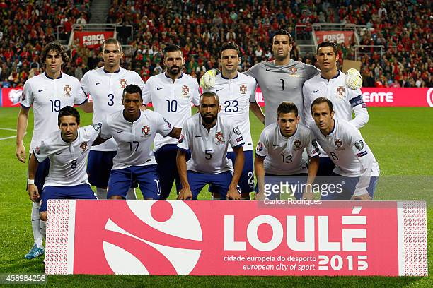 Portugal initial team during the EURO 2016 qualification match between Portugal and Armenia at the Estadio do Algarve on November 14 2014 in Faro...