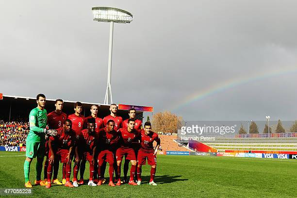 Portugal line up for a team photo prior to the FIFA U20 World Cup New Zealand 2015 quarter final match between Brazil and Portugal held at Waikato...