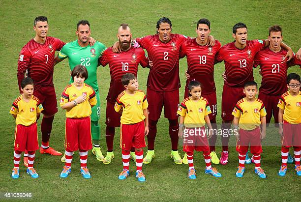 Portugal line up for the National Anthems during the 2014 FIFA World Cup Brazil Group G match between the United States and Portugal at Arena...