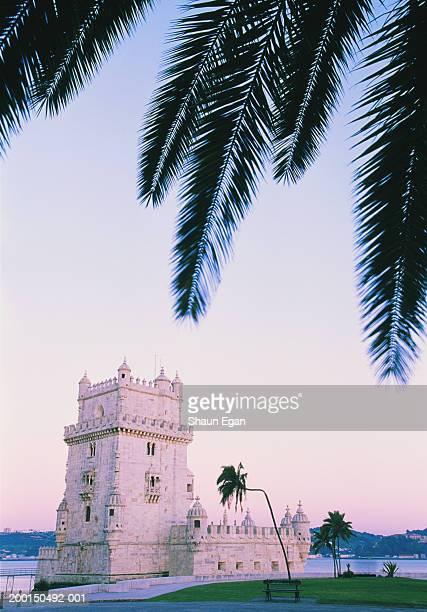 Portugal, Lisbon, Belem Tower, palm fronds in foreground, dusk