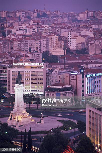 Portugal, Lisbon, Marques de Pombal Square at dusk, elevated view