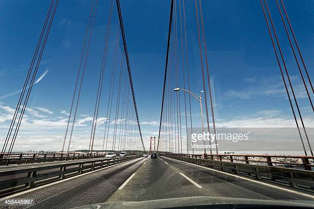 Portugal, Lisbon, Setubal, View of 25 de Abril Bridge