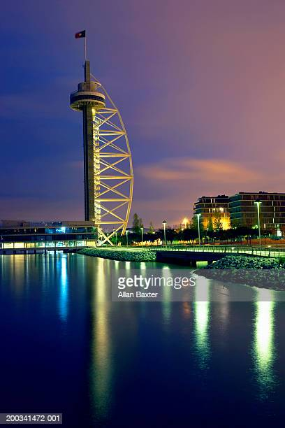 Portugal, Lisbon, Vasco Da Gama Tower, night