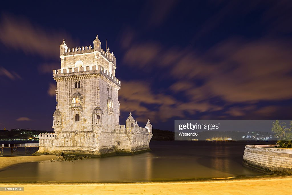 Portugal, Lisbon, View of Belem Tower : Stock Photo