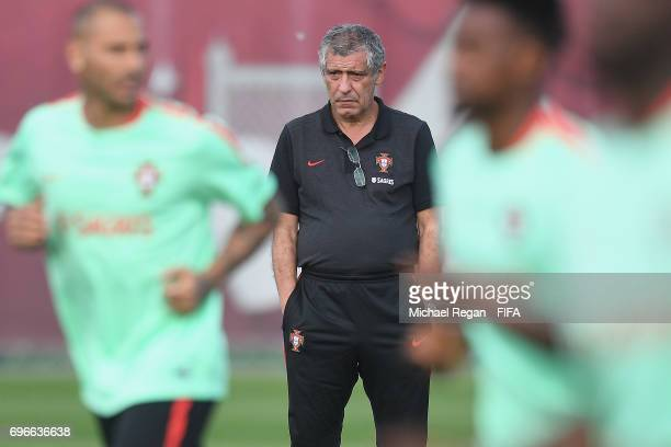 Portugal manager Fernando Santos looks on during the Portugal training session on June 16 2017 in Kazan Russia