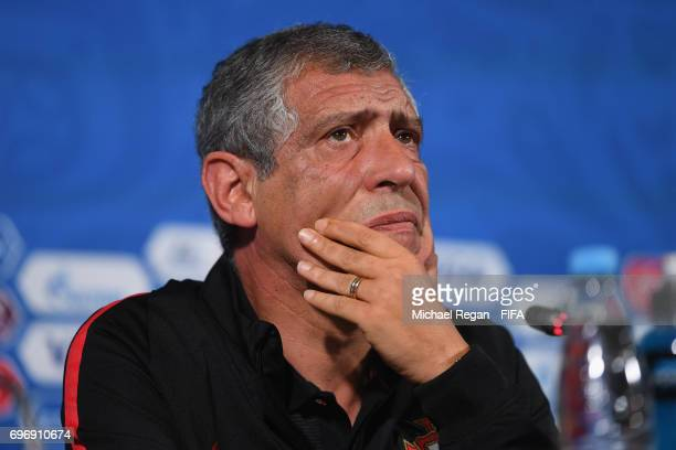 Portugal manager Fernando Santos speaks to the media during the Portugal Training and Press Conference on June 17 2017 in Kazan Russia