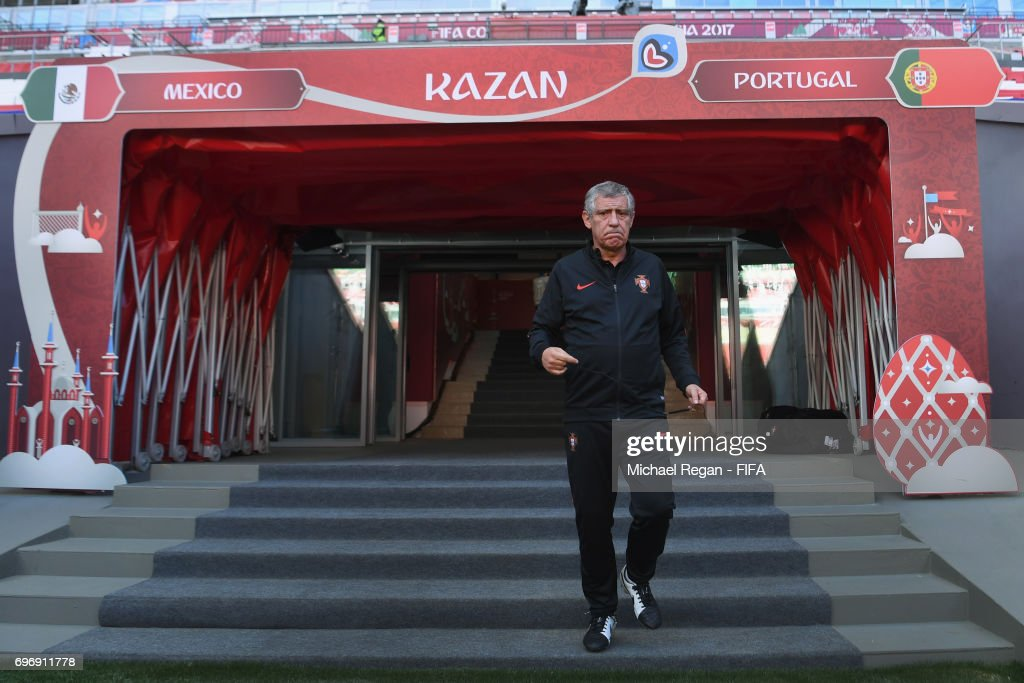 Portugal manager Fernando Santos walks out to training during the Portugal Training and Press Conference on June 17, 2017 in Kazan, Russia.
