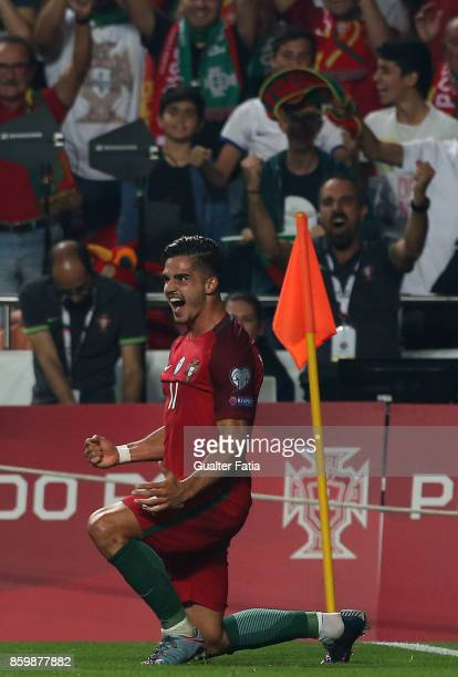 Portugal midfielder Andre Silva celebrates after scoring a goal during the FIFA 2018 World Cup Qualifier match between Portugal and Switzerland at...