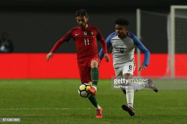 Portugal midfielder Bernardo Silva and United States of America midfielder Weston McKennie during the match between Portugal and United States of...