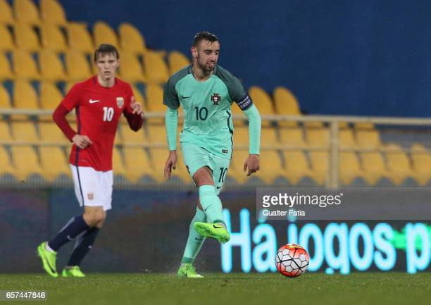 Portugal midfielder Bruno Fernandes in action during the U21 International Friendly match between Portugal and Norway at Estadio Antonio Coimbra da...