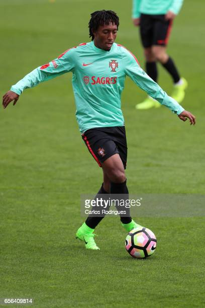 Portugal midfielder Gelson Martins during a Portugal training session at Cidade do Futebol on March 22 2017 in Lisbon Portugal