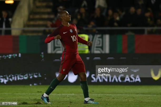 Portugal midfielder Joao Mario celebrating after scoring a goal during the match between Portugal v Saudi Arabia International Friendly at Estadio do...