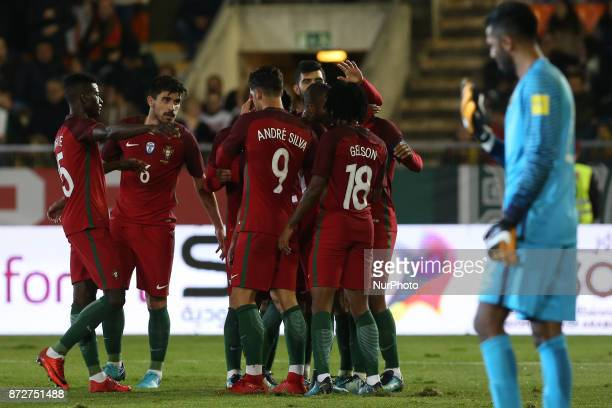 Portugal midfielder Joao Mario celebrating with is team mate after scoring a goal during the match between Portugal v Saudi Arabia International...