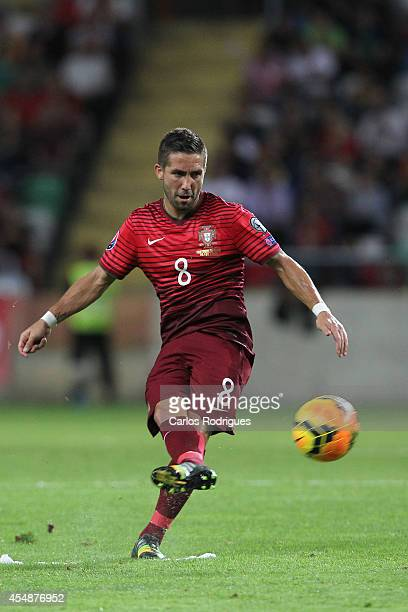 Portugal midfielder Joao Moutinho during the EURO 2016 qualification match between Portugal and Albania at Estadio de Aveiro on September 7 2014 in...