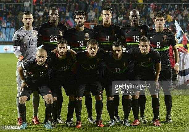 Portugal national football team players pose for a picture Portugal's Andre Andre Rafa Bernardo Silva Vieirinha Raphael Guerreiro goalkeeper Rui...