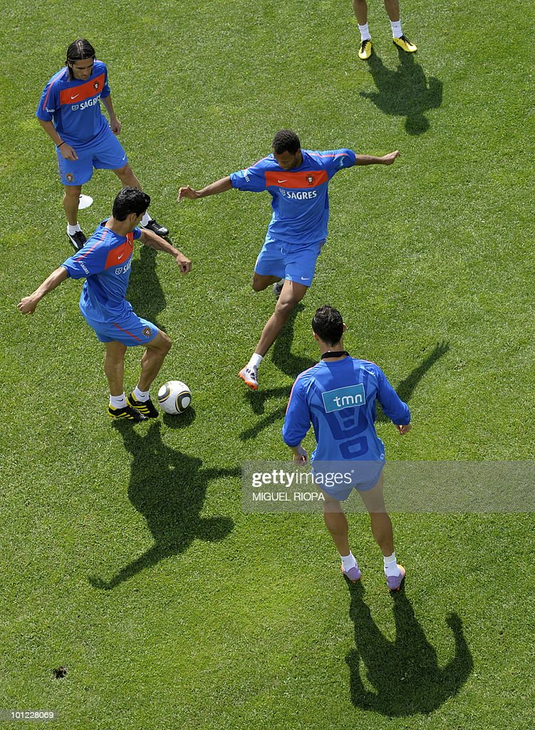 Portugal national football team players take part in their team's morning training session at Covilha Sports Complex in Covilha, central Portugal, on May 28, 2010. Portugal is holding training camp in preparation for the upcoming World Cup in South Africa.