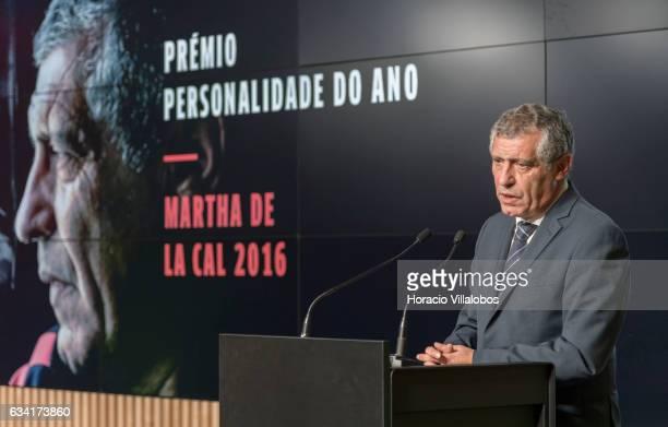 Portugal national soccer team coach Fernando Santos delivers speaks to the public after having received from Portuguese President Marcelo Rebelo de...