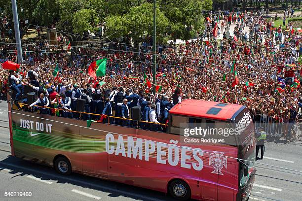 Portugal national team bus during the Portugal Euro 2016 Victory Parade at Lisbon on July 11 2016 in Lisbon Portugal