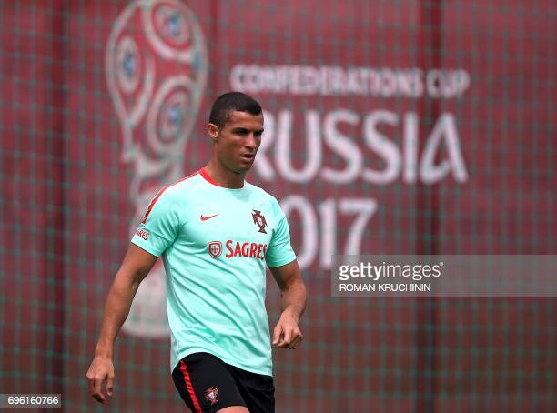 Portugal national team forward Cristiano Ronaldo takes part in a training session in Kazan on June 15 as part of the team's preparation for the...