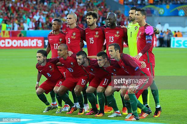 Portugal National Team poses for a photograph prior to the EURO 2016 Group F football match between Portugal and Iceland at Geoffroy Guichard Stadium...