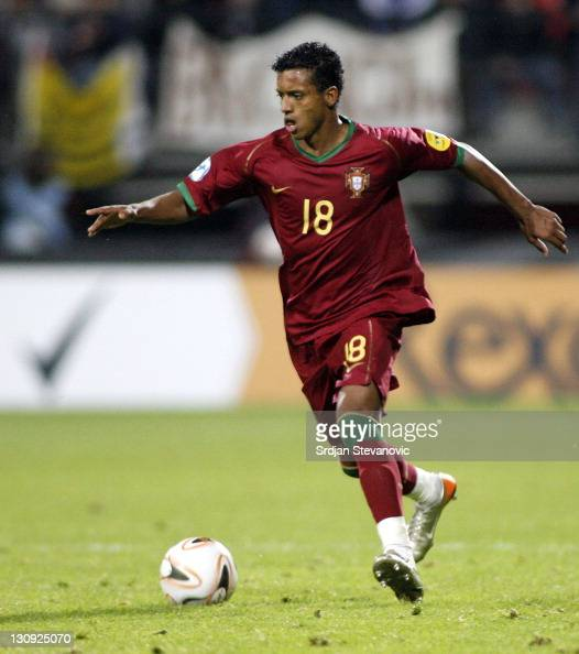 Portugal player Nani in action during their Olympic 2008 qualifying soccer match at the Goffert stadium in Nijmegen The Netherlands Thursday June 21...