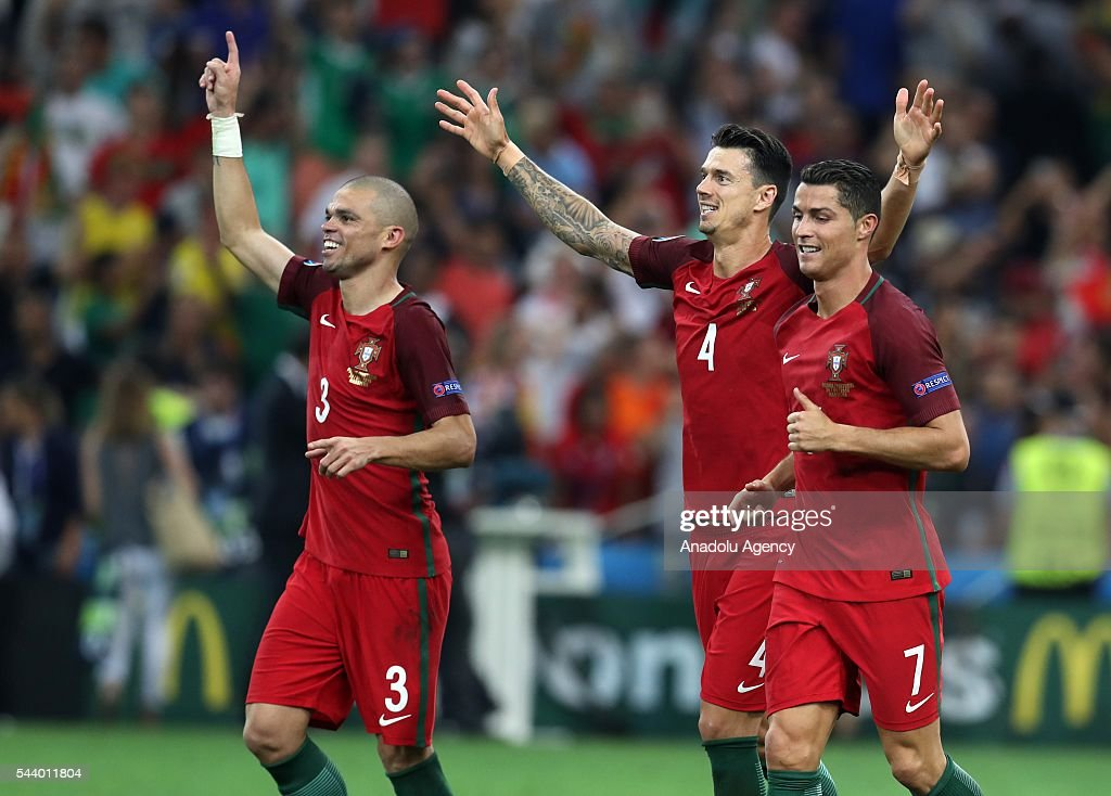 Portugal players celebrate after the penalty shoot out following the UEFA Euro 2016 Quarter Final match between Poland and Portugal at Stade Velodrome on June 30, 2016 in Marseille, France