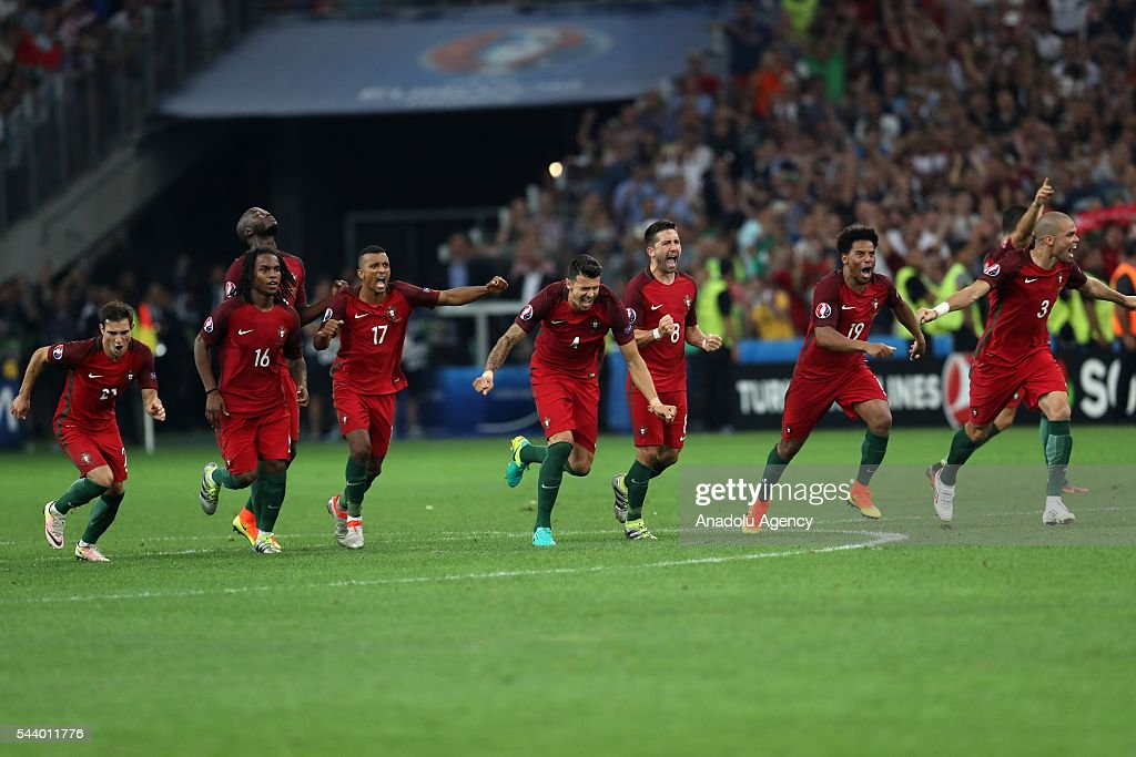 Portugal players celebrate during the penalty shoot out following the UEFA Euro 2016 Quarter Final match between Poland and Portugal at Stade Velodrome on June 30, 2016 in Marseille, France