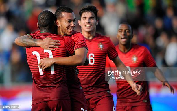 Portugal players celebrate during the UEFA U21 Championship second leg playoff between Portugal and Netherlands at the Mata Real Stadium on October...